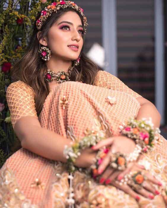 Desi girl pink bridal shower dress