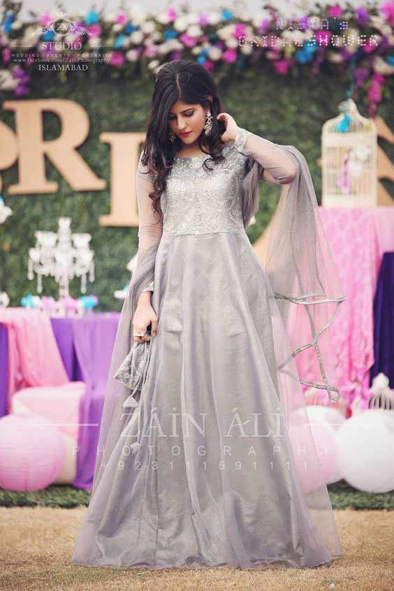 Light grey long frock for bride to be
