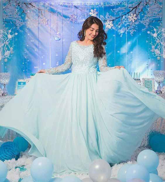 Ayeza khan light blue bridal shower long frock