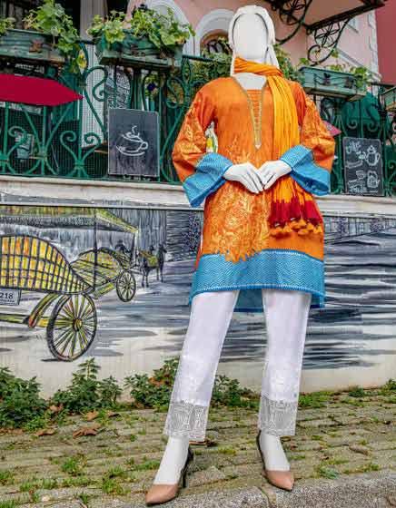 Orange kurti by Junaid Jamshed