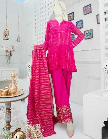 Shocking pink three piece suit