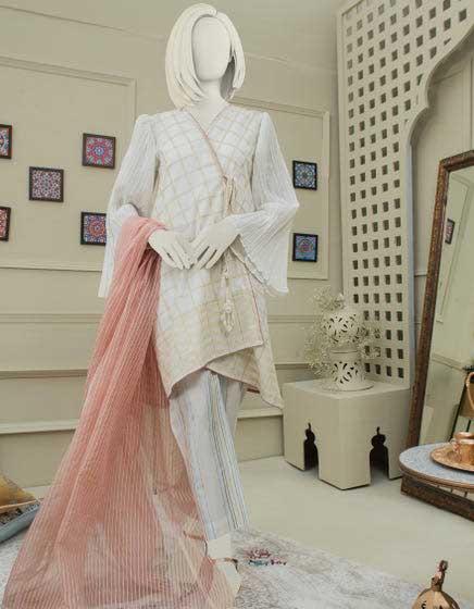 White and peach dress