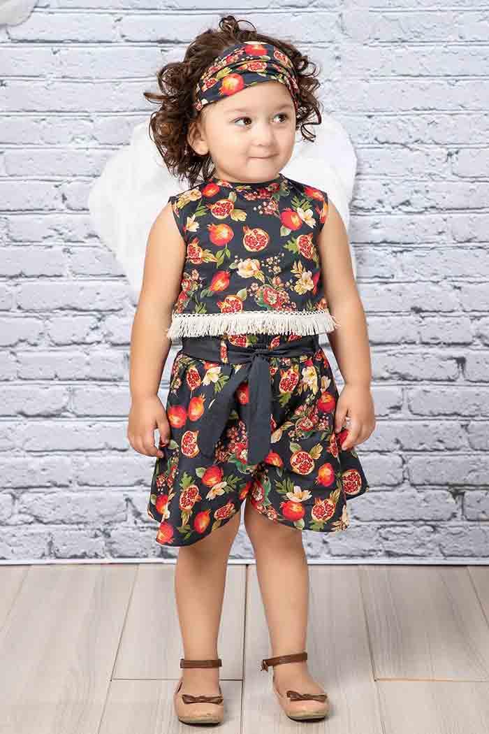 Black floral frock design for little girls