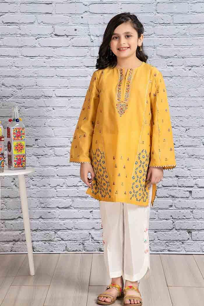 Yellow kurta with white trousers