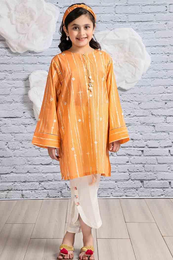 Peach kurta with tulip trousers for ladli