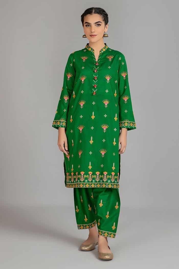 Green shirt with shalwar