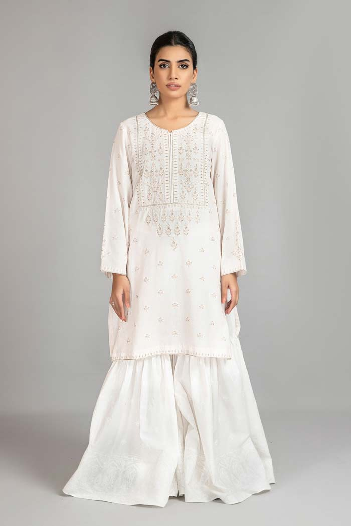 White embroidered shirt with gharara