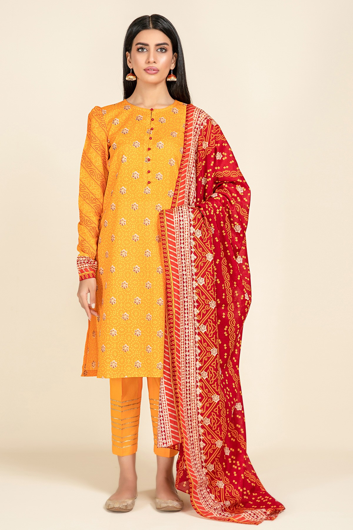Yellow dress with red dupatta