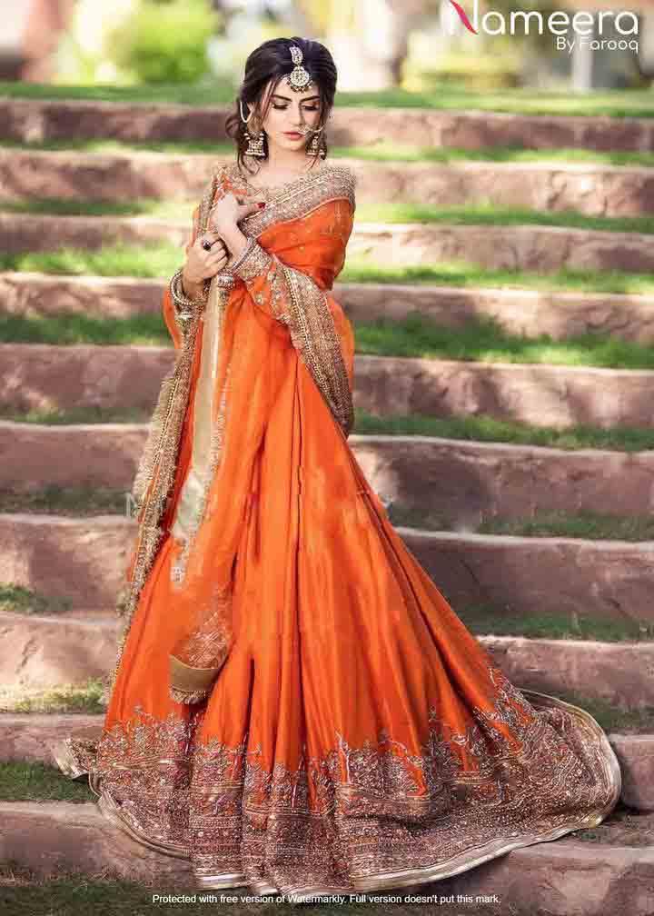 Orange flared long frock for wedding