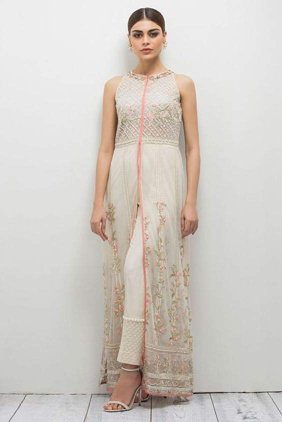 White front open frock for wedding