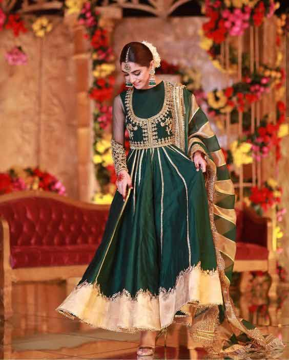 Maya Ali in green wedding frock pishwas