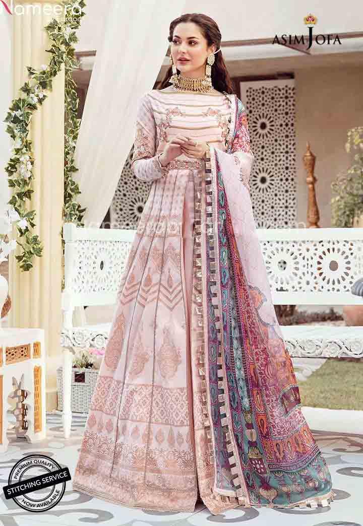 Hania malik in light pink anarkali frock