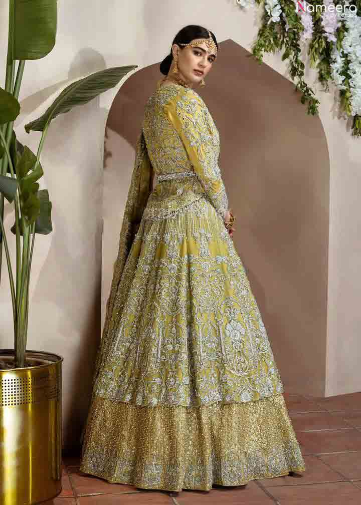Light green wedding frock flared style