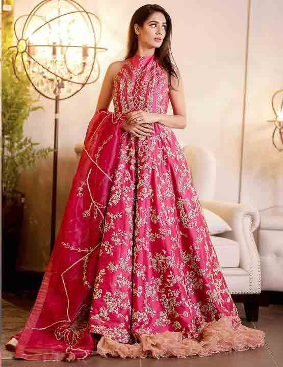 Pink flared frock for wedding