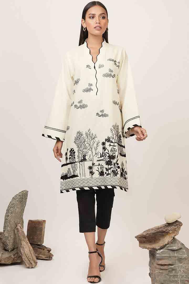 Black and white alkaram dress