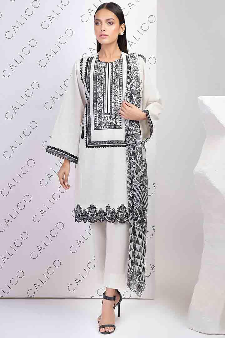 Black and white eid dress by Alkaram studio