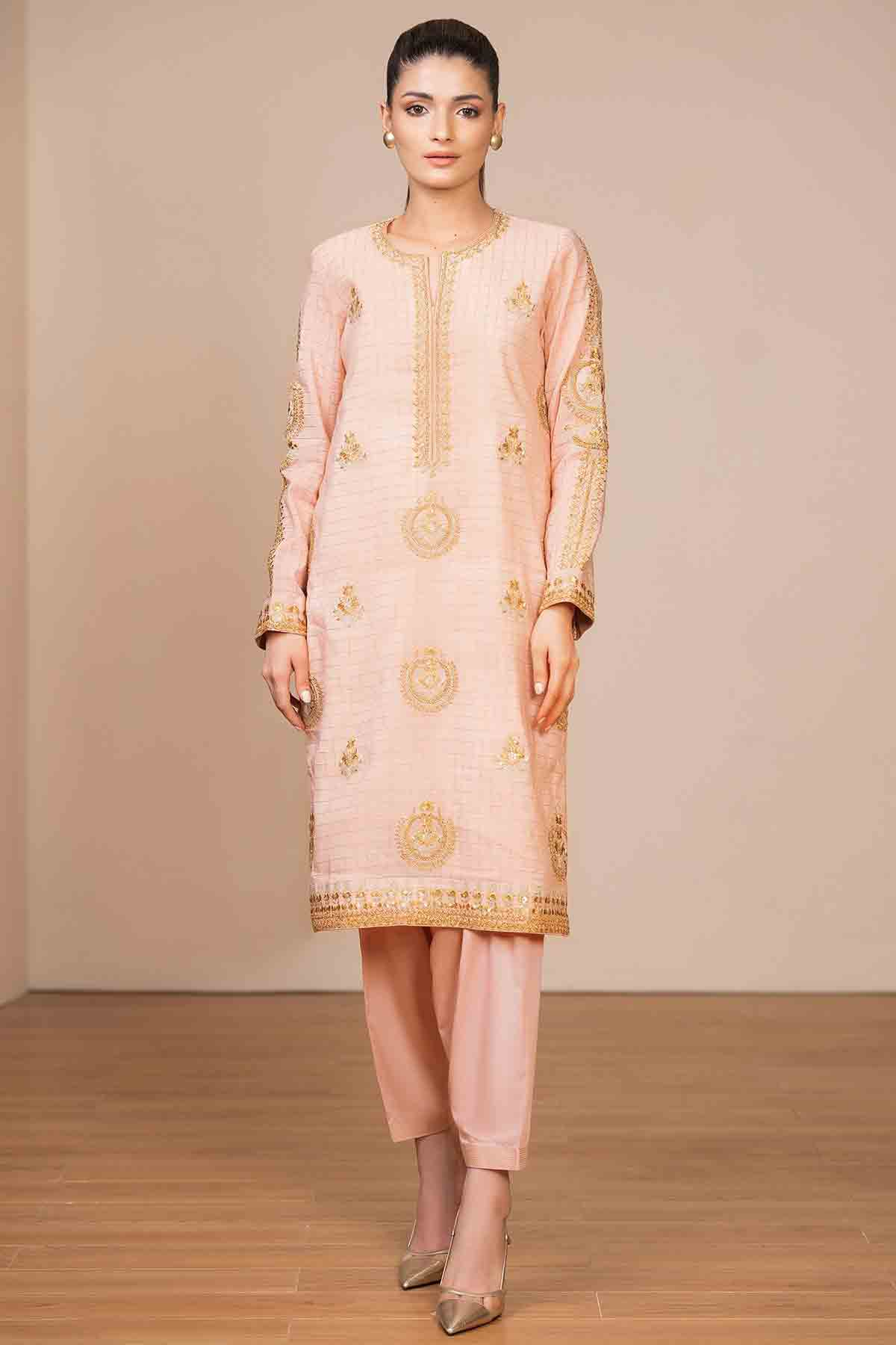 Alkaram peach dress for eid