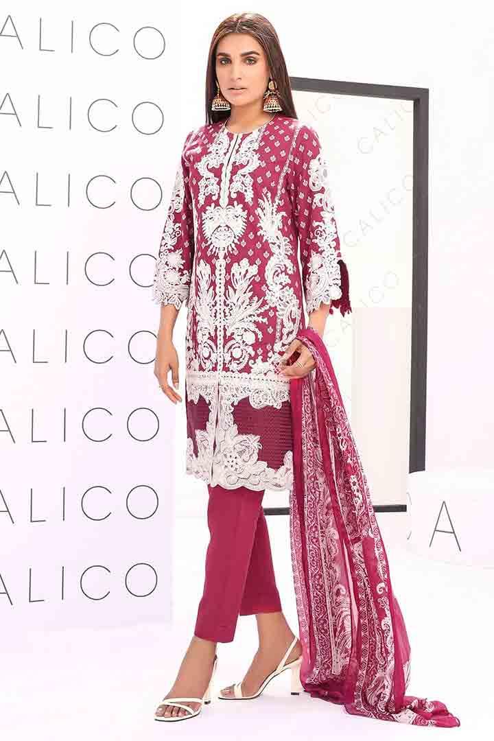 Alkaram red and white eid dress