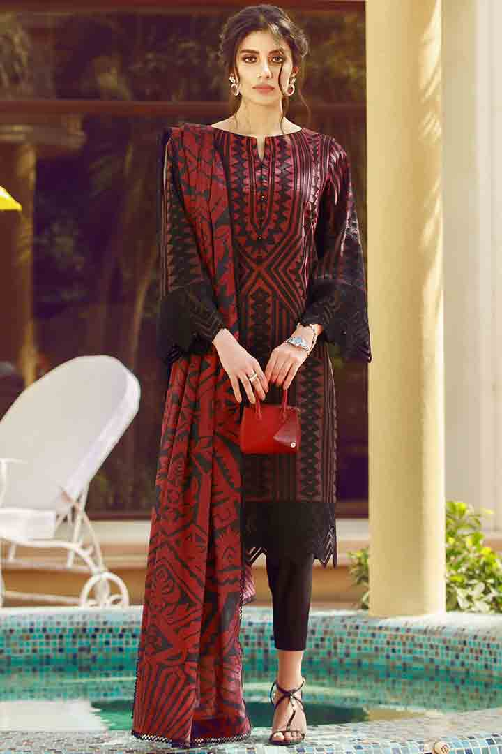 Latest red and black eid dress