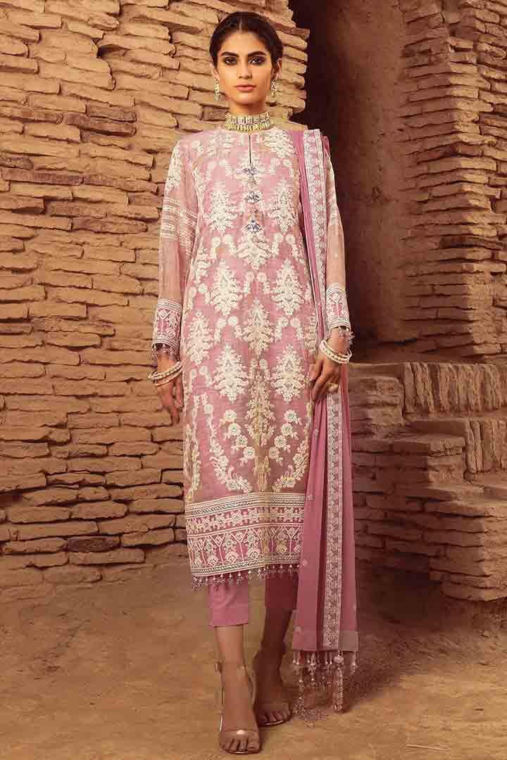 Pink three piece suit by Alkaram