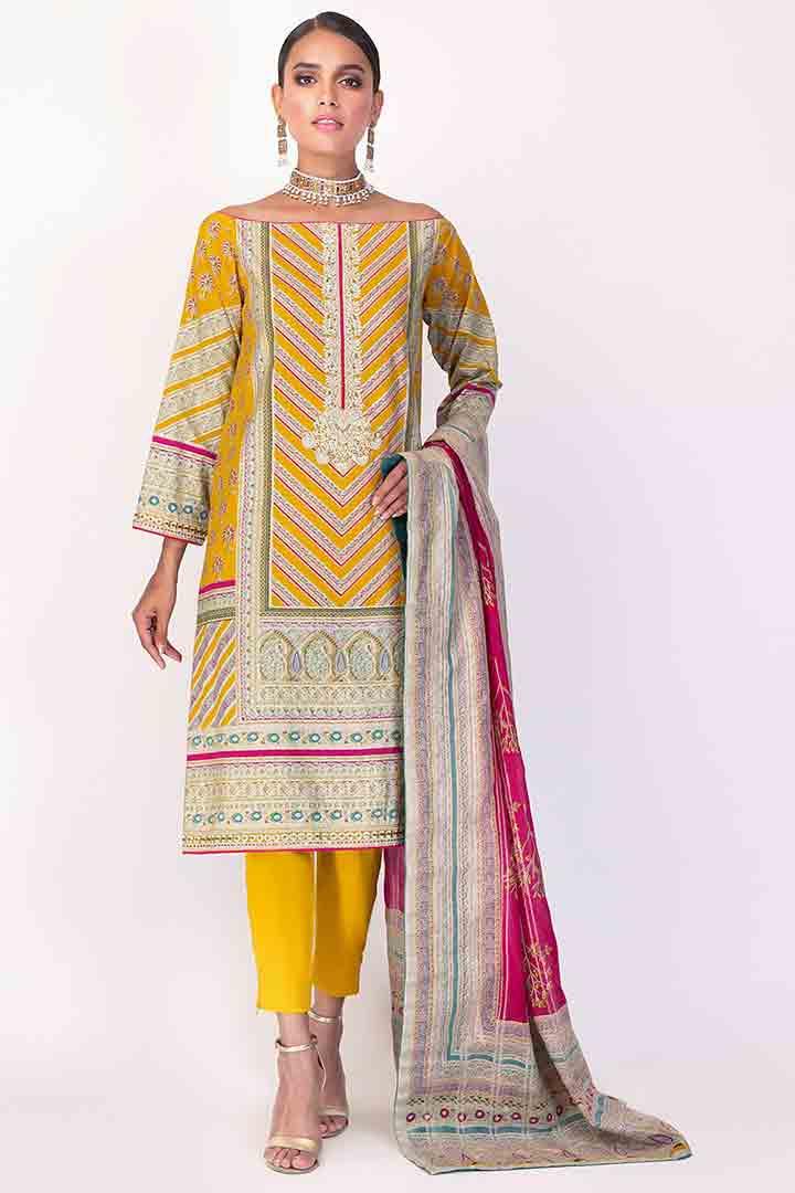 Alkaram yellow Eid dress