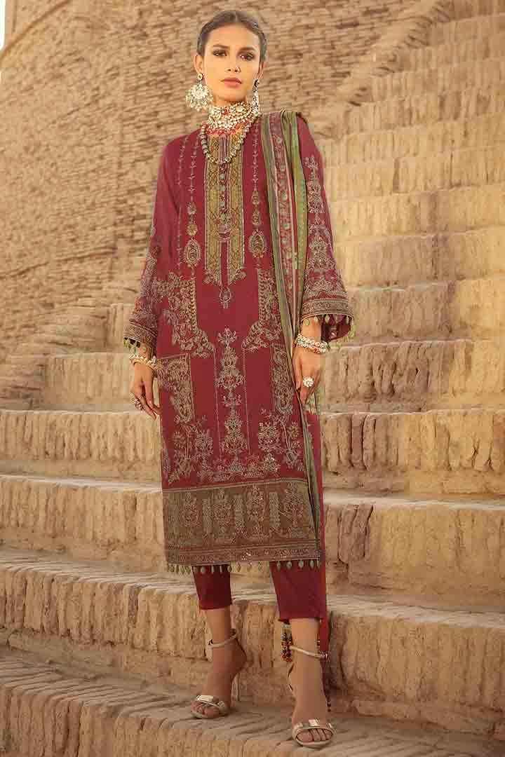 Alkaram unstitched red dress